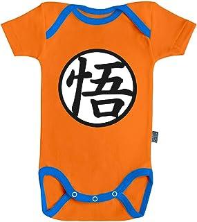 Baby Geek Tenue de Goku - Licence Officielle Dragon Ball Super - Body Bébé Manches Courtes - Coton Orange - Couture Bleue