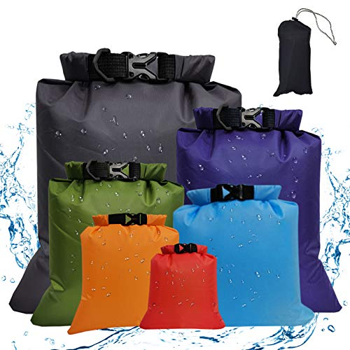 Waterproof Dry Bag Backpack 6 Pack – Gym Bag Dry Sacks Lightweight Storage Bags, Roll Top Sack Travel Duffel Bags Keeps Gear Dry for Kayaking, Rafting, Boating, Swimming, Camping, Hiking, Fishing