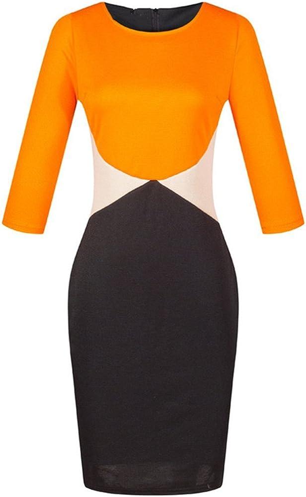 Women Polyester Pacthwork Candy Colors Summer Dress