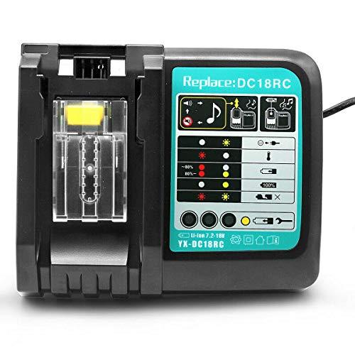TPLS Cargador de repuesto DC18RC 3A para Makita 14V-18V Batería BL1860 BL1850 BL1840 BL1830 BL1430