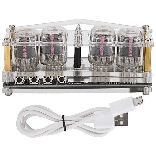 ASHATA Nixie Röhrenuhr, Sieben-Farben-Leuchten 4-Glüh-Röhrenuhr Digitale RGB-LED DIY Nixie-Uhr DC 5V mit Acrylgehäuse, Sieben-Farben-RGB-LED-Uhr Glühröhrenuhr mit 4 Knöpfen