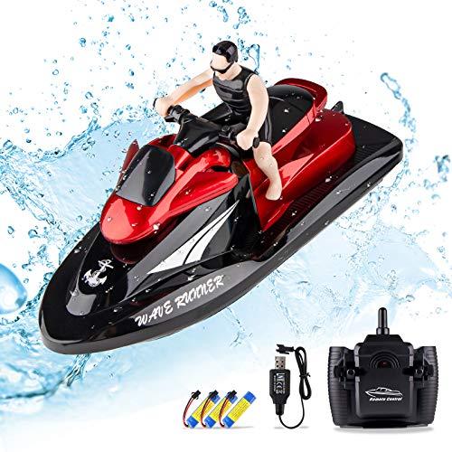 Seamuing RC Boot Fernbedienung Motorboot - 2,4 GHZ RC Boot Motorboot Schnellboot mit 3 Wiederaufladbaren Batterien Wasserspielzeug RC Boot für Kinder und Erwachsene