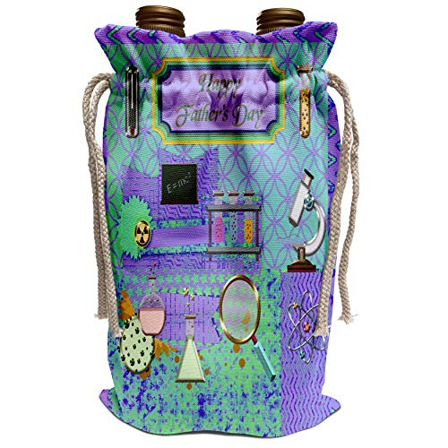 3dRose Beverly Turner Fathers Day Design - Scientist Theme Fathers Day, Abstract, Test tube, Microscope, E=MC2, Wine Bag (wbg_239546_1)