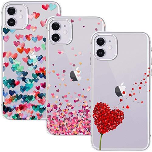 Young & Ming Cover per iPhone 11 6.1, (3 Pack) Morbido Trasparente Silicone Custodie Protettivo TPU Gel Case, Amore