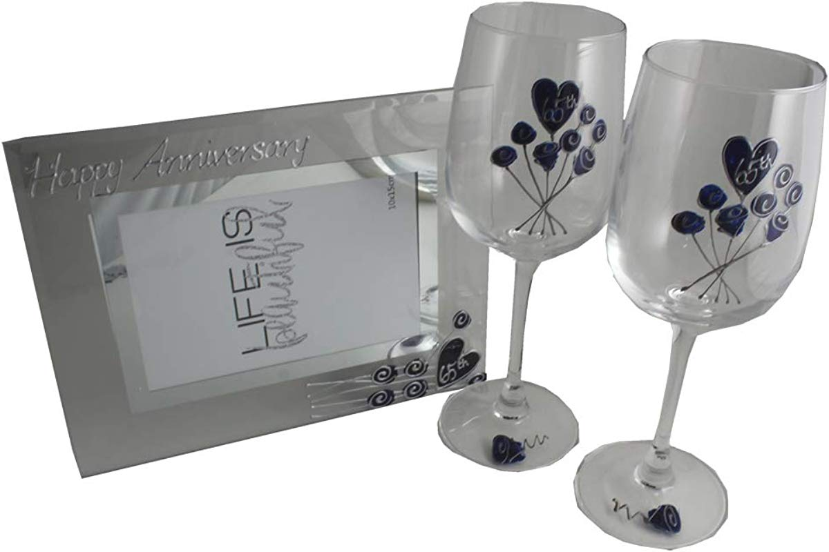 65th Blue Sapphire Wedding Anniversary Wine Glasses And Photo Frame Gift Set