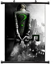 MiniGao Wall Scroll Poster with Batman Arkham City Riddler Back City Black And White Home Decor Wall Posters Fabric Painting 32 X 48 Inch