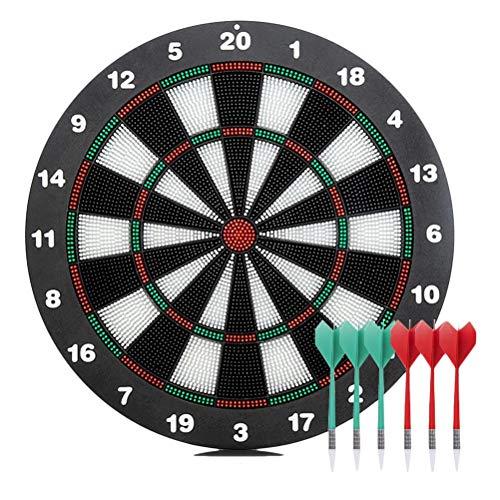 Hihey Dartscheibe Sicherheit Kunststoff Dart Game Dartboard mit 6 Borsten Darts Bullseye mit rotierenden Anzahl Ring Erwachsene Kinder Entertainment Spielzeug