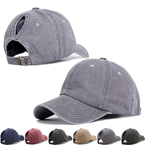 Vintage Sports Ponytail Baseball Hats for Women High Messy Bun Hat Ponycaps Adjustable Cotton Trucker Baseball Cap Dad Hat with Distressed Retro Washed Cotton Twill (Gray)