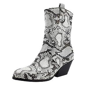 YWLINK Botas De Mujer Altas-Botas Desnudas De Gran TamañO con PatróN De Serpiente Botines De TacóN Oblicuo-TacóN De CuñA Antideslizante-Zapatos De Fiesta(Blanco,40EU)