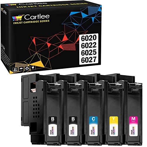 Cartlee Set of 5 Compatible High Yield Laser Toner Cartridges Replacement For Xerox Phaser 6020 Phaser 6022 WorkCentre 6025 Work Centre 6027 printers (2 Black, 1 Cyan, 1 Magenta, 1 Yellow)
