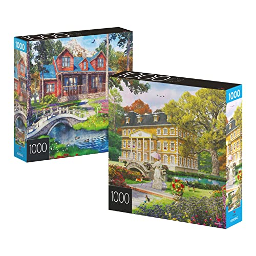 2-Pack of 1000-Piece Jigsaw Puzzles, for Adults, Families, and Kids Ages 8 and up, Pine Cabin and Summer Estate