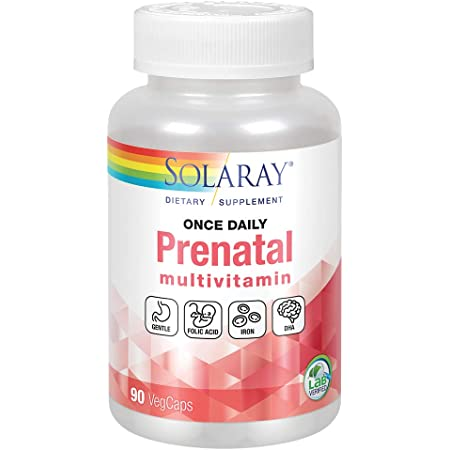 Solaray Once Daily Prenatal Multivitamin with Iron & DHA   Morning Ease Herbal Blend & Whole Food Base   90 CT