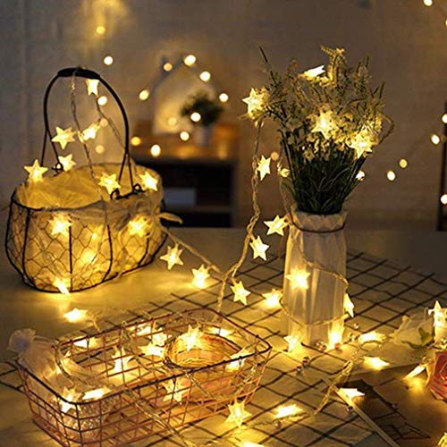 String Lights,20 LED Star String Lights Outdoor Solar Powered Star Fairy Lights Waterproof 8 Modes Decorative Light for Garden Patio Yard Home Wedding Party Festival,AA Batteries,Warm White