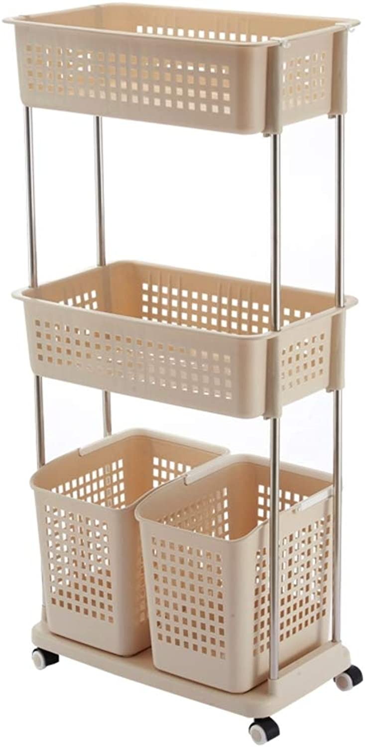 , Plastic 2 Baskets 3 Layers with Pulley Living Room Bedroom -F