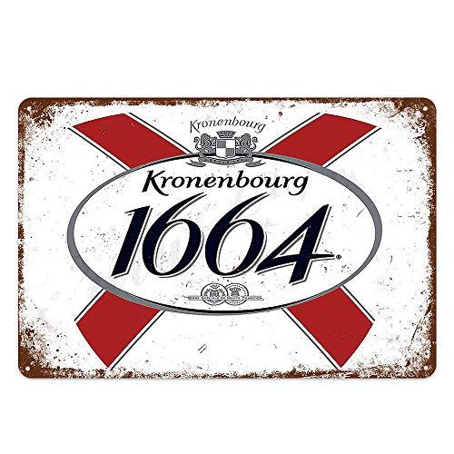 XunYun Blechschild, Kronenbourg, 1664 Bier, Retro-Dekor für Bar, Café, Kneipe, Größe 20,3 x 30,5 cm, Blechschild, Männerhöhle, Spielzimmer, Garage, Bar