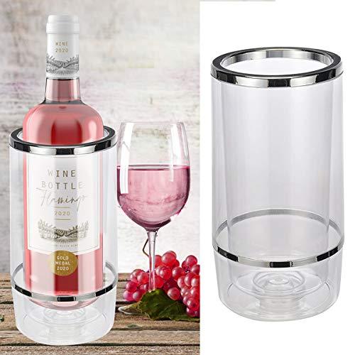 Oramics Flaschenkühler Weinkühler aus Kunststoff mit Edelstahl Deko 12x12x23cm - Getränkekühler kippsicher bruchfest - Doppelwandige Vakuumisolierung für bessere Kühlung (Transparent, 1 Stück)