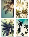 PICSonPAPER Poster 4er-Set PALMEN, ungerahmt DIN A4,