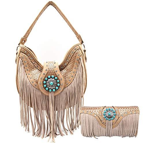 Western-Stil Fransen Country Tooled Leder versteckte Tragetasche Handtasche Damen Schultertasche Brieftasche Set, Beige (taupe), Large