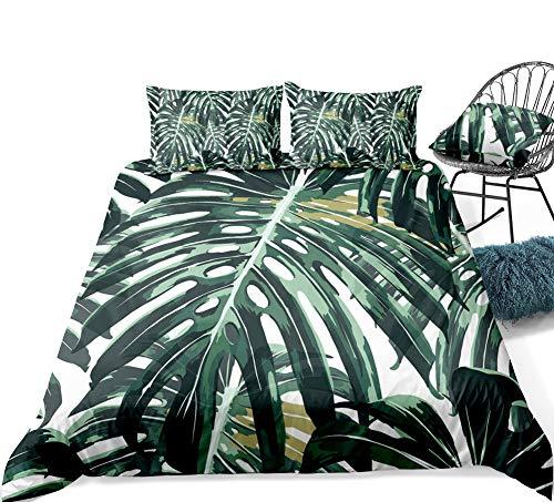 "Palm Tree Bedding Green Leaf Duvet Cover Set Green Tropical Leaf Printed Design Dark Green Tropical Bedding Set King (104""x90'') One Duvet Cover Two Pillowcases (Green Plam Tree, King)"