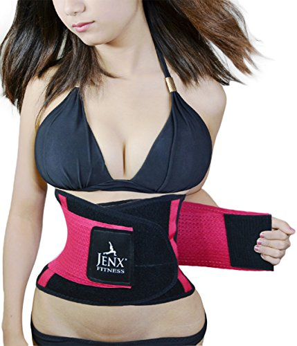 Jenx Fitness Unisex Waist Trainer Great Back Spine Support Reduce Back Pain, Rose, S