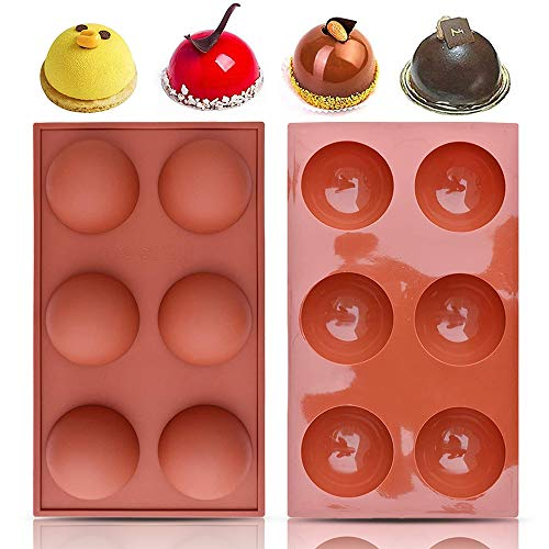2 Packs Hot Chocolate Bomb Mold, 6-Cavity Large Semi Sphere Circle Silicone Mold for Hot Chocolate Bomb, Baking,Candy, Cake, Ice Cream, Dome Mousse, Jelly Pudding, Soap (Brick Red -2)