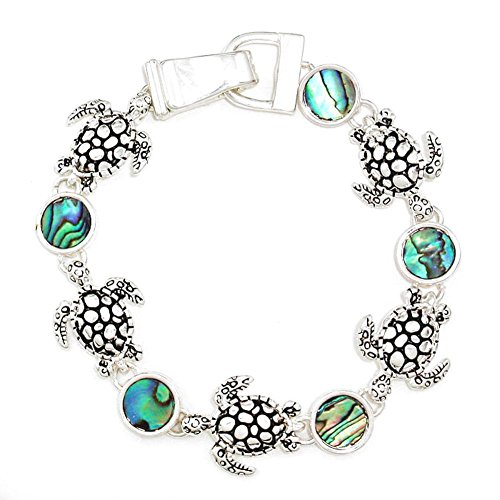 Abalone Sea Turtle Water Tortoise 7.5 Inch Bracelet with Magnet Clasp