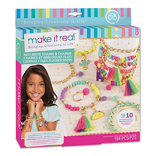 Make It Real – Neo-Brite Chains & Charms. Bracelet Making Kit for Girls and Tweens to Create...