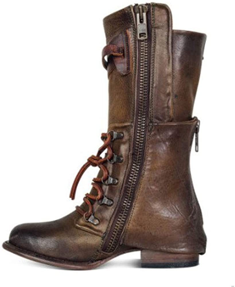 Allure Love Women's Motorcycle Lace up Mid Calf Western Style Cowboy Knight Boots