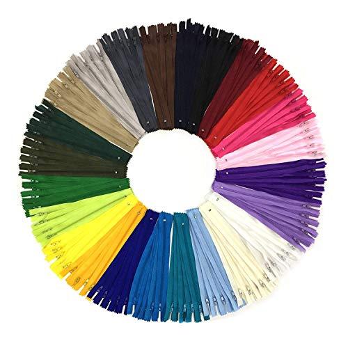 DOITEM 120pcs 23cm / 9 pulgadas cremalleras de nylon multicolor de la bobina para coser y artes 24 colores