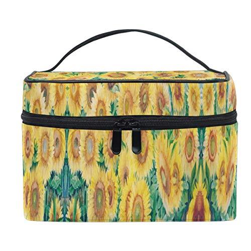 3D otoño girasol acuarela vintage bolso cosmético bolsa de maquillaje bolso bolsa de tren bolsa de transporte portátil cremallera viaje cosméticos cepillo organizador grande para mujeres