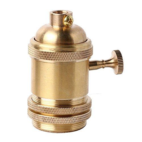 Splink E27 oro base della lampadina del supporto dello zoccolo della lampada con l'interruttore Retro antico Edison luce ciondolo In ottone massiccio Luce Socket con Staffa 110V-250V per DIY Lampade