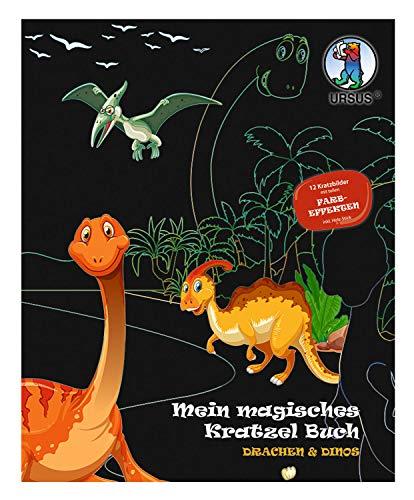URSUS 24530002F Mein magisches Kratzelbuch Drachen & Dinos, Kratzbildern, ca. 21 x 26 cm groß, mit tollen Farbeffekten und 12 Mandalas zum Ausmalen, inklusive Holz-Stick, bunt