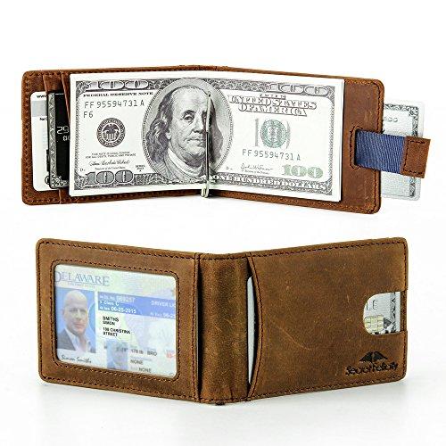 Men's Genuine Leather RFID Blocking Wallet With Money Clip For Men Father Husband Boyfriend Slim Bifold Profile (Brown)