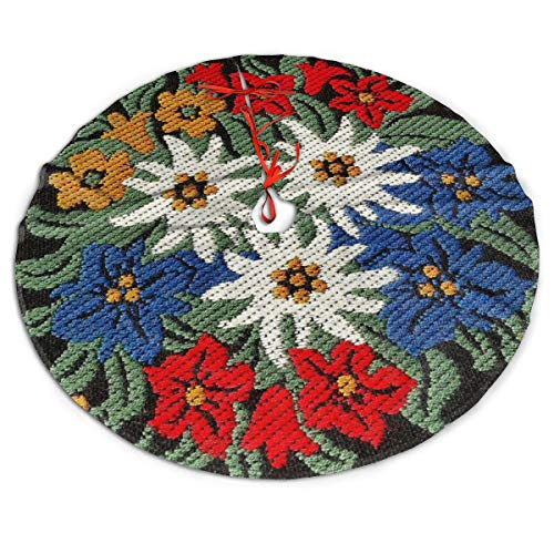 ASO-SLING Winter Merry Christmas Tree Skirt Edelweiss Swiss Alpine Flower Printed Xmas Tree Mat Indoor Outdoor Decorative Gift Festive Holiday Decoration 30/36/48 Inch in Diameter