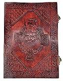 Kooly Zen – Cuaderno de notas, diario, libro, piel auténtica, vintage, cruz celta, doble cierre, 18 x 25 cm, 240 páginas, papel premium