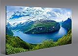 Quadro moderno Fiordi V2Noruega Impresión sobre lienzo–Quadro X sillones salón cocina muebles oficina casa–Fotográfica Tamaño XXL cuadros