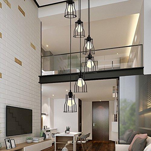 6 luces araña retro LED E27, 30 * 150cm, escalera lámpara industrial colgante de luz negro, Duplex lámpara escalera de caracol piso para sala de estar, hierro forjado sombra, bombillas incluye