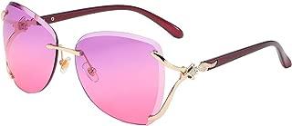 Women Shades Rimless Sunglasses Bling Frame Round Lens Sunglass Metal Frame Sunglasses for Women Men VC1012