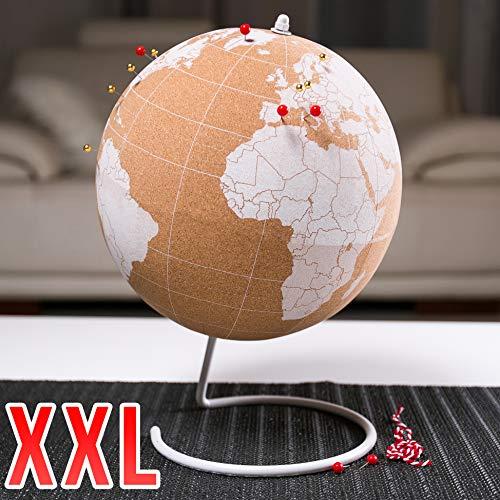 Kork Globus für Erwachsene und Kinder - Weltkarte mit Pins Weiß 25cm Durchmesser zum Dokumentieren & beschriften von Reisezielen - Große Dekoration Weltkugel Cork - Weltenbummler Geschenkidee