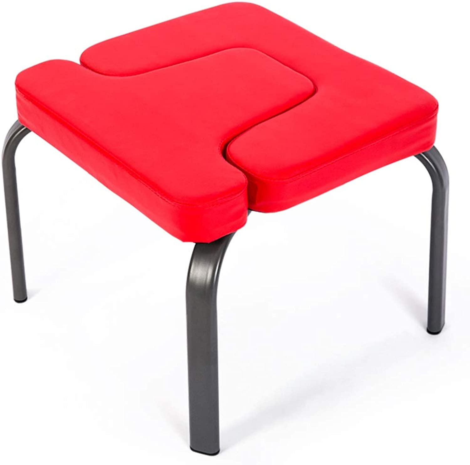 Upholstered Yoga Headstand Bench Leather Seat, Stainless Steel Stand Yoga Chair for Home Gym, Portable Body Exercise Stool, 440 Lbs Capacity, Red (color   Red)