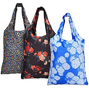 Customer reviews Yarwo Reusable Grocery Shopping Tote Bags, 3-pack Foldable Shopping Bags with Attached Drawstring Pocket and Carabiner Snap Hook