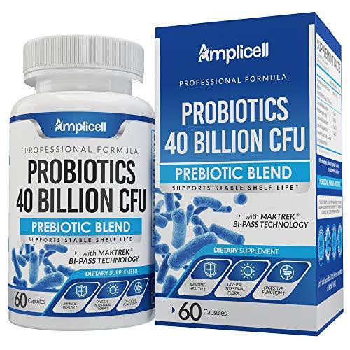 Probiotics 40 Billion CFU - 60ct Digestive Enzyme Supplements - Probiotics for Women, Probiotics for Men - Shelf Stable Probiotic Supplement with Lactobacillus Acidophilus Probiotic for Gut Health
