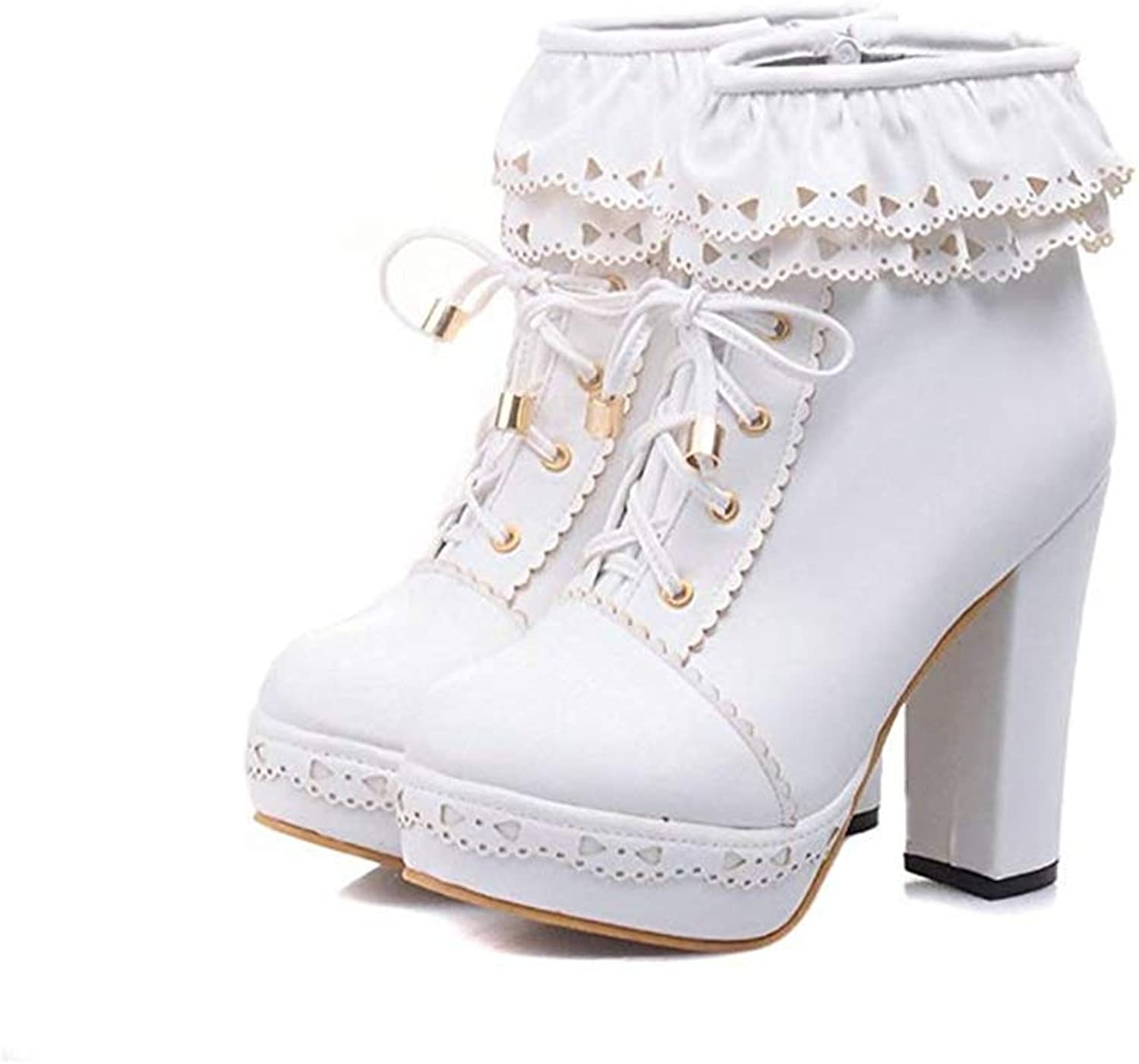 Womens Office Party Sweet Lolita Chunky High Heel PU Lace up Ankle Boots
