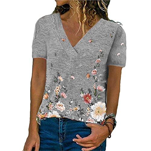 Tops Mujer Elegante Cuello En V Estampado De Flores Manga Corta Mujer Blusa All-Match Generoso Casual Clásico Temperamento Moda Diseño Exquisito Colocación Verano Mujer T-Shirt G-Grey 5XL