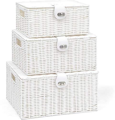 XUYI Arpan - Juego de 3 cestas de Almacenamiento Tejidas de Resina con Tapa y Cerradura, Color Blanco