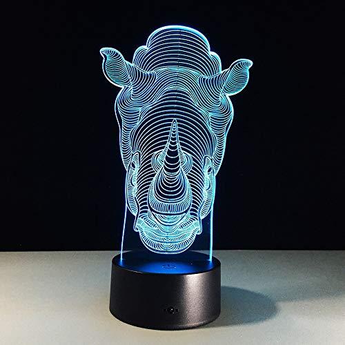 Colorido rinoceronte 3D cambiante lámpara de mesa Led Night Lights ns room Iluminación decorativa