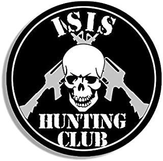 American Vinyl Round ISIS Hunting Club Sticker (Skull ar-15 Army Military Gun)