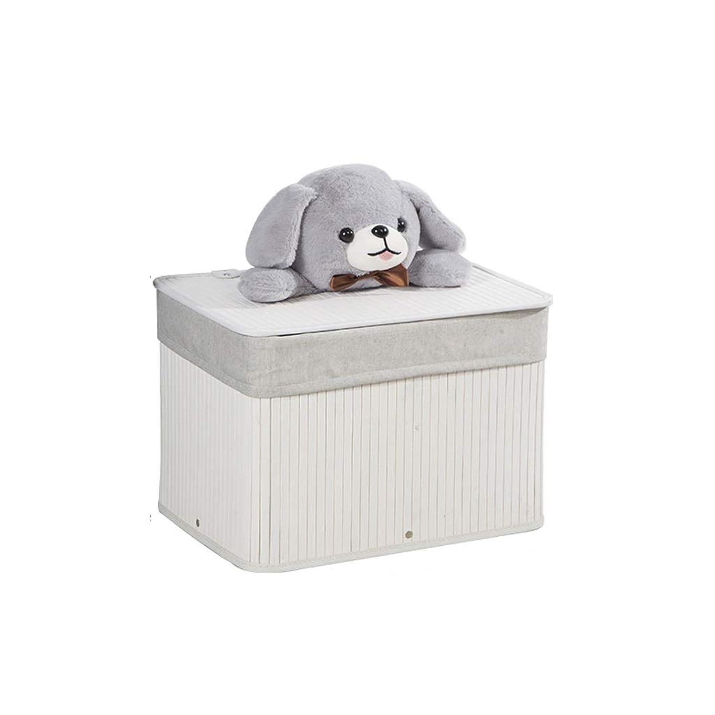 QYSZYG 竹収納バスケット、汚れた服収納バスケット、クマ人形のデザイン、リビングルームの寝室などに置けます 収納バスケット (色 : 白, サイズ さいず : S s)