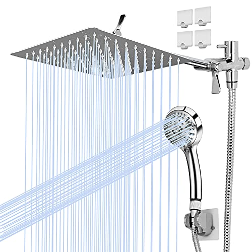 8'' High Pressure Rainfall Shower Head/Handheld Shower Combo with 11'' Extension Arm, Height/Angle Adjustable, 9 Settings Adjustable Anti-leak Shower Head (Square rainfall shower)