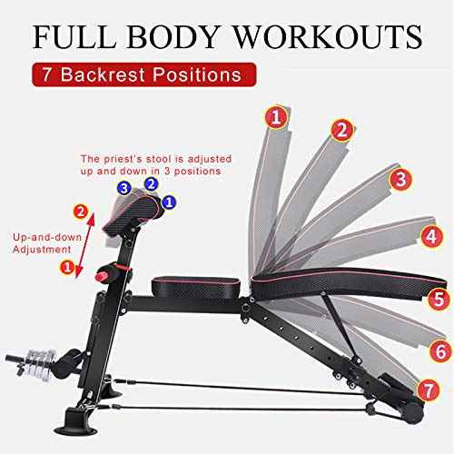 WGCC Adjustable Weight Bench - Multi-Purpose Weight Benches for Full Body Workout, Foldable Exercise Workout Bench for Incline Decline Strength Training Gym Bench